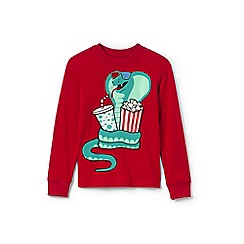 Lands' End - Boys' red long sleeve applique graphic tee