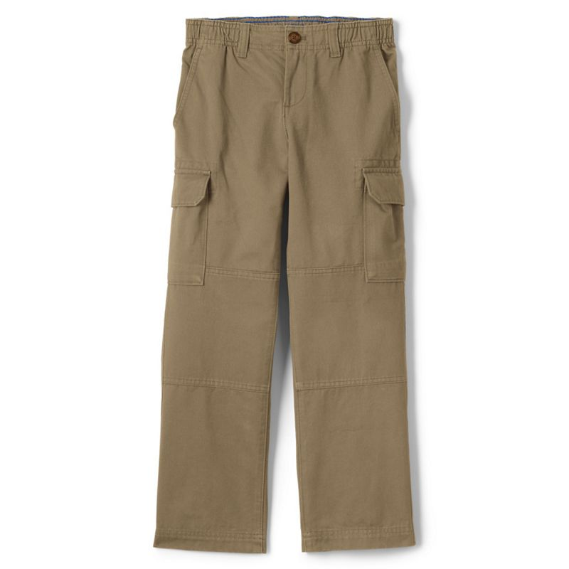 Lands End Beige boys iron knee pull-on cargo trousers