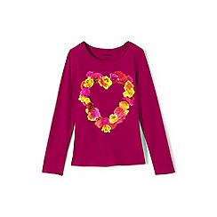 Lands' End - Pink girls long sleeve roll neck graphic tee