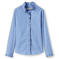 Lands' End - Blue girls' ruffle neck blouse