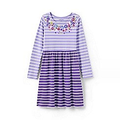 Lands' End - Purple girls' gathered waist graphic dress
