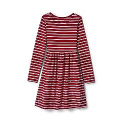 Lands' End - Girls' red gathered waist graphic dress