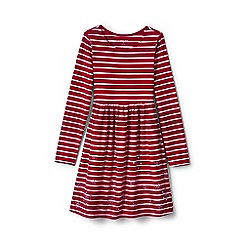 Lands' End - Girls' red gathered waist graphic dress