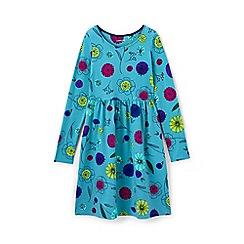 Lands' End - Girls' blue gathered waist jersey dress