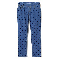 Lands' End - Blue girls' pull-on pattern denim jeggings