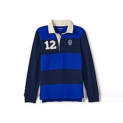 Lands' End - Blue boys' colourblock rugby shirt