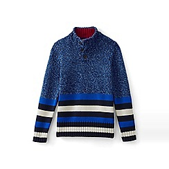 Lands' End - Blue boys button down striped polo neck jumper