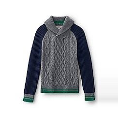 Lands' End - Grey boys' colourblock cable shawl collar jumper