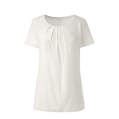 Lands' End - Cream pleated front jersey tee