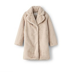 Lands' End - Pink girls' faux fur coat