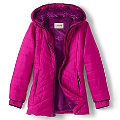 Lands' End - Girls' pink primaloft fleece-lined parka