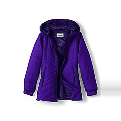Lands' End - Girls' purple primaloft fleece-lined parka