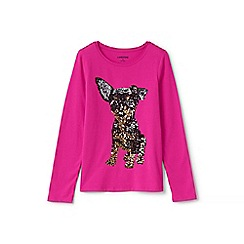 Lands' End - Pink girls' embellished graphic long sleeve tee