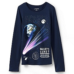 Lands' End - Black girls' long sleeve novelty graphic tee