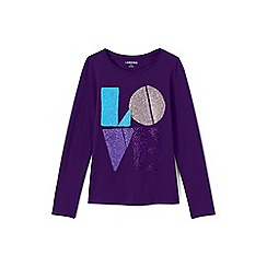 Lands' End - Purple girls' long sleeve novelty graphic tee