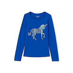 Lands' End - Blue girls' long sleeve novelty graphic tee