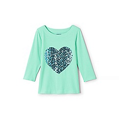 Lands' End - Green girls' .75-sleeve embellished graphic tee