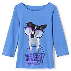 Lands' End - Blue girls' .75-sleeve novelty graphic tee