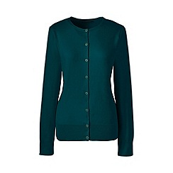 Lands' End - Green regular fine gauge supima crew neck cardigan
