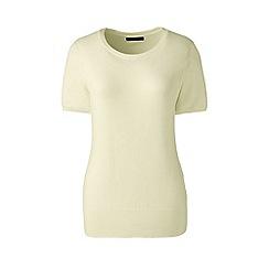 Lands' End - Cream regular short sleeve supima jewelneck