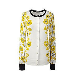 Lands' End - Yellow fine gauge supima patterned crew neck cardigan
