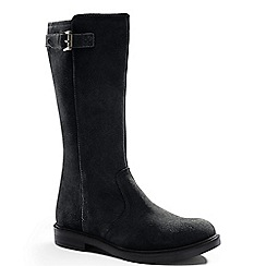 Lands' End - Black girls' suede buckle boots
