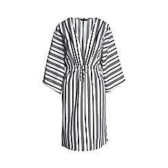 Lands' End - White regular silk blend stripy mid-length kaftan