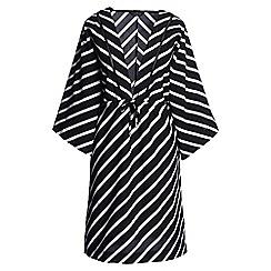 Lands' End - Black regular silk blend stripy mid-length kaftan