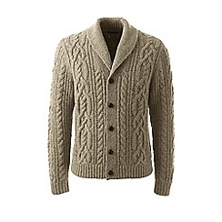 Lands' End - Beige regular shawl collar cable cardigan