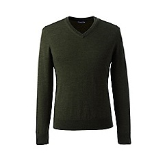 Lands' End - Green regular merino v-neck sweater