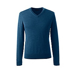 Lands' End - Blue regular merino v-neck sweater