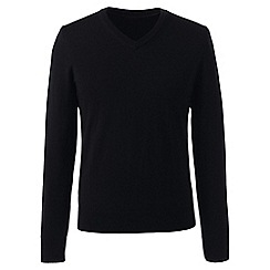 Lands' End - Black regular merino v-neck sweater