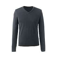 Lands' End - Grey regular merino v-neck sweater