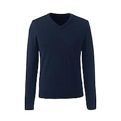 Lands' End - Blue regular merino v-neck sweater