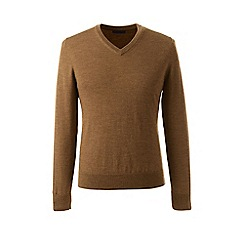 Lands' End - Beige regular merino v-neck sweater
