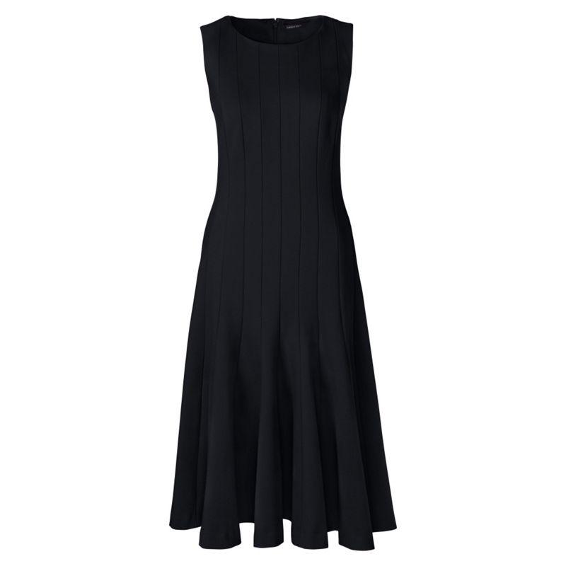 Lands End Black ponte jersey seamed a-line dress