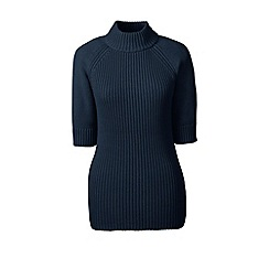 Lands' End - Blue ribbed elbow sleeve polo neck