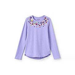 Lands' End - Purple girls' long sleeve a-line graphic tee