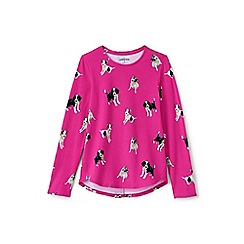 Lands' End - Pink girls' long sleeve a-line print tee