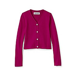 Lands' End - Pink girls' long sleeve sophie v-neck cardigan
