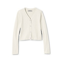 Lands' End - White girls' long sleeve sophie v-neck cardigan