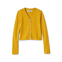 Lands' End - Yellow girls' long sleeve sophie v-neck cardigan