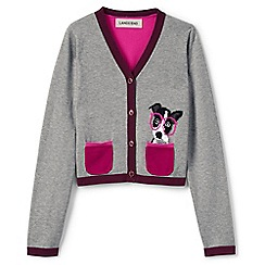 Lands' End - Girls' grey sophie v-neck intarsia cardigan