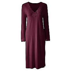 Lands' End - Red plain modal lace v-neck nightgown