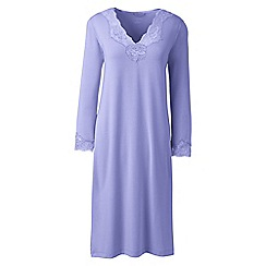 Lands' End - Purple petite plain modal lace v-neck nightgown