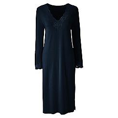 Lands' End - Blue plain modal lace v-neck nightgown