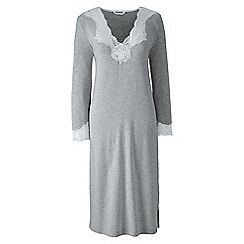 Lands' End - Grey plain modal lace v-neck nightgown