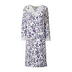 Lands' End - Cream regular patterned modal lace v-neck nightgown