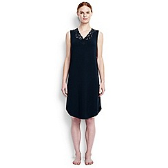 Lands' End - Blue regular plain modal lace v-neck sleeveless nightgown