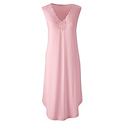 Lands' End - Pink plain modal lace v-neck sleeveless nightgown